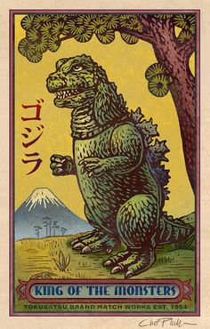 Godzilla signed print from an illustration by Chet Phillips  Signed print with dimensions of 3.5 x 5.5 with mat and backing board that measures to 5 x 7. Fits perfectly in a 5 x 7 frame. Created to emulate a vintage matchbox art label.  Created using the digital software program Painter. Please note due to computer monitors differences in colors may vary. The vivid color in your print may differ somewhat from what you see on your monitor. Shipped flat and well protected with backing board…