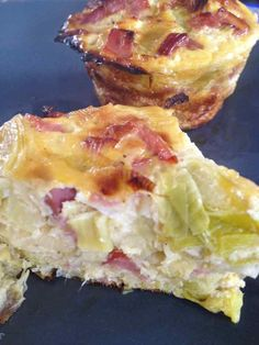 Leek flan with bacon - Rachel and her light and delicious cuisine - Fanchon Bourcq Ww Recipes, Vegetarian Recipes, Snack Recipes, Cooking Recipes, Muffins, Food Porn, Appetisers, Easy Cooking, Food Inspiration