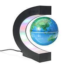 Globe bleu en lévitation base en c