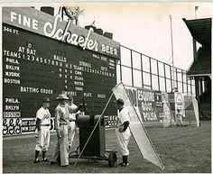 Famous Ebbets Field scoreboard, Brooklyn #Dodgers . Note Schaefer Beer logo: H lit for hit, e lit for error.