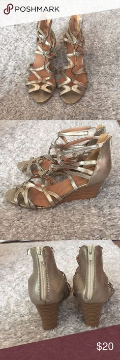 """Torrid Metallic Wedges (Wide Width) Super cute metallic wedges with a 3"""" heel. Some wear on the soles but still in great condition! torrid Shoes Wedges"""
