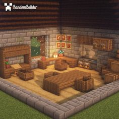 """Random Minecraft Builder on Instagram: """"Medieval Living Room! Would you like to see more builds li in 2020 Minecraft designs Minecraft interior design Minecraft room"""
