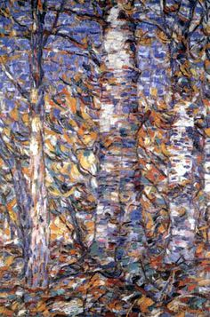 """Birch Forest. Christian Rohlfs (1849–1938) was over 50 years old when he started to paint in the new expressionist style. During a summer stay in Soest in 1905, he got acquainted with Emil Nolde. Rohlfs' own tendency of expressive composition corresponded to the beginning Expressionism of the """"Brücke"""".  In 1937 his works were confiscated by the Nazis as degenerate art."""