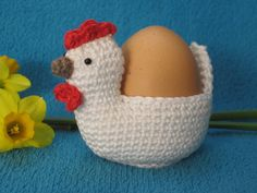 Surprise your guests at the lunch table with some cute chicken egg holders like these. This --- PATTERN --- will guide you to crochet an egg holder