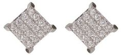 Bony Levy 18K White Gold Square Pave Diamond Stud Earrings - 0.10 ctw