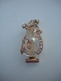 Art Nouveau 19th Century Musical 18K Gold Diamonds Rubbies Lyre Harp Brooch Pin | eBay