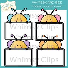 FREE whiteboard bees clip art set by Whimsy Clips.