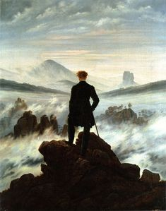 Absolutely my favorite paint. Every time i see this, i can imagine my self in this situation all the time. The Wanderer Above the Sea of Fog, (Der Wanderer über dem Nebelmeer um) 1818 ~ by Caspar David Friedrich