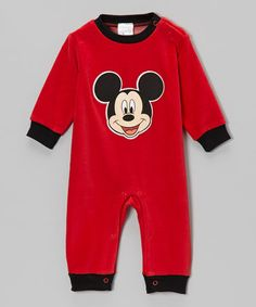 Take a look at this Red Mickey Velour Playsuit - Infant by Disney on #zulily today!