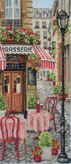 French City Scene by Anchor, counted cross stitch kit
