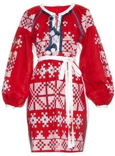 VITA KIN Geometric-embroidered linen dress