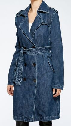 new denim styles, denim trench coat