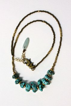 Turquoise Howlite Necklace Handmade with Brass by BohemianWhimSea, $45.00