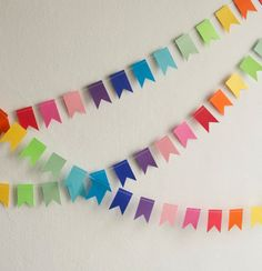 Paper Garland - Rainbow Flags, Birthday Garland, Birthday Bunting, Paper Bunting