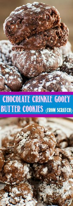 Chocolate Crinkle Gooey Butter Cookies from Scratch are sure to satisfy your chocolate cravings! Thick, rich, gooey and ultra chocolatey! No cake mix needed!