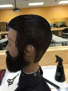 90 degree cut hair and beard