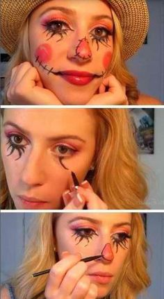 Fun Make up for Scarecrow Costume | Creative and Cute Looks For Halloween by DIY Ready at http://diyready.com/diy-scarecrow-costume-ideas/