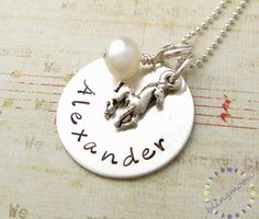 Horse Charm Personalized Necklace: Handstamped birthstone pony -- I Want one!!! :)