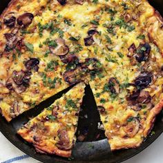 Mushroom Leek and Fontina Frittata: Frittatas are excellent served warm or at room temperature, which means that this meatless main is a perfect do-ahead dish. #Frittata #Eggs #Leeks #Fontina