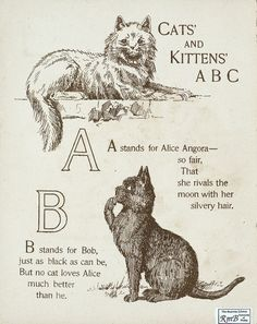 "Letters ""A"" - ""B"" (from ""Cats and kittens ABC"", Father Tuck's Nursery Tales series, 1890s)"