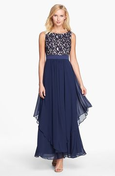 Eliza J Lace & Chiffon Gown (Petite) available at #Nordstrom