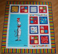 Using the Seuss fabric we have and konor's blankets/sheets from when he was a baby and this could be a cute quilt keepsake!