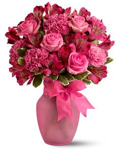 Pink Blush Bouquet - Arrangement includes pink alstroemeria, pink carnations, pink roses accented with variegated pittosporum. Deco Floral, Floral Design, Pretty Flowers, Pink Flowers, Pink Carnations, Cut Flowers, Blush Bouquet, Valentines Flowers, Valentine Bouquet