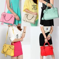 New Lovely Korea Style Simple Design Jelly Color PU Leather Women's Shoulder Bag Crossbody Bag