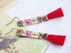 Bar earrings Rose earrings fringe Tassel trend by CocoFlowerShop