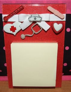 note pad holders from acrylic photo frames | Nurse Acrylic Magnetic Post It Note Holder by CraftAtticCreations