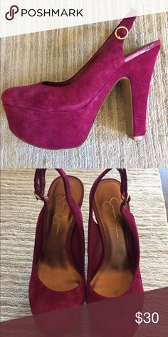 "Jessica Simpson Platform pumps in a Wine color. Suede leather upper, synthetic sole  5 1/2"" heal and 2"" platform  On trend chunky heal platform heals. Add a pop of color to any outfit! Chic with cropped jeans and also perfect for dresses of any length. Great for school formals, prom, date night or catching up with your girls!!  Gently loved. Adjustable sling- back heals Jessica Simpson Shoes Platforms"
