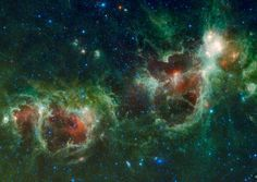 June 2010 WISE: Heart and Soul Nebulas in Infrared Credit: NASA, JPL-Caltech, WISE Team Is the heart and soul of our Galaxy located in Cassiopeia? The Heart Nebula, officially dubbed IC 1805 & visible to right, has a shape in optical light reminiscent of a classical heart symbol. The image, however, was taken in infrared light by the recently launched WISE telescope. Light takes about 6,000 years to reach us from these nebulas, which together span roughly 300 light years.