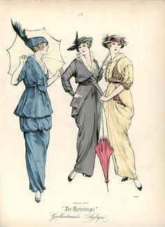 [De Gracieuse] No. 1. Wandelkostuum van taffet. No. 2. Tailleurkostuum van zijden gabardine. No. 3. Wandeljapon van effen zijden laken (May 1914)
