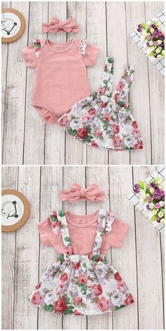 Ruffle Short Sleeves Bodysuit, Floral Overall Skirt, Headband in Pink infant outfit,infant s Baby Outfits, Little Girl Outfits, Toddler Outfits, Kids Outfits, Trendy Baby Girl Clothes, Baby Kids Clothes, Frocks For Girls, Dresses Kids Girl, Cute Baby Girl