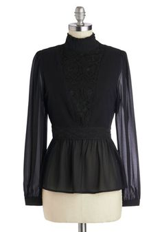 Madame Cutie Top in Black - Woven, Black, Solid, Lace, French / Victorian, Long Sleeve, Variation, Exclusives, Steampunk, Sheer, Mid-length,...