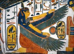 Tomb of Nefertari / goddess Ma'at.Egypt, Thebes (UNESCO World Heritage List, 1979), Luxor, Valley of the Queens: Tomb of Nefertari, burial chamber (19th Dynasty, Ramses II, 1290– 1224 BC).