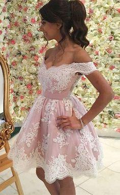 short homecoming dresses,pink homecoming dresses,lace homecoming dresses,off the shoulder homecoming dresses @simpledress2480