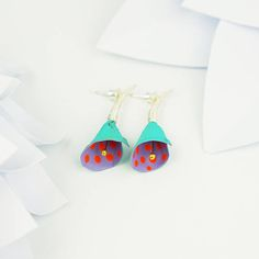 Modern 50's style purple & red earrings turquoise floral