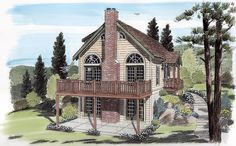 House Plan 24705   Cabin   Cottage   Traditional    Plan with 1562 Sq. Ft., 3 Bedrooms, 2 Bathrooms