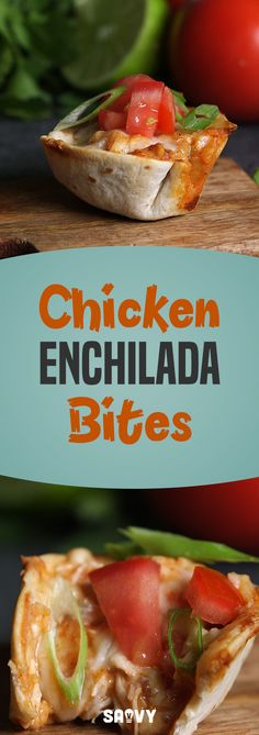 Chicken Enchilada Bites are the perfect party food for your next get-together. Why slave over a whole enchilada spread, when you can make single-serving bites? Top these off with whatever you like - tomato and green onion make a great combo, but the sky's the limit with these!