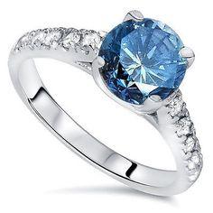 Huge 2.25CT Blue & White Diamond (2.00CT Center) Engagement Ring 14K White Gold
