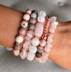 Healing Bracelets, Gemstone Bracelets, Handmade Bracelets, Gemstone Jewelry, Rose Quartz Bracelet, Rose Gold Jewelry, Jewelry Bracelets, Beaded Jewelry Designs, Bracelet Designs