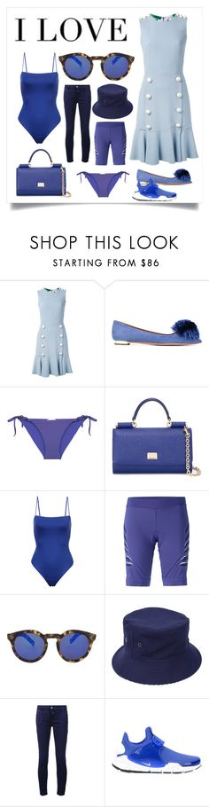 """""""I design for the woman"""" by denisee-denisee ❤ liked on Polyvore featuring Dolce&Gabbana, Aquazzura, ONIA, Fleur du Mal, adidas, Illesteva, Maison Michel, Closed, NIKE and vintage"""