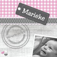 Geboortekaartjes - geboorte meisje met stempel en foto