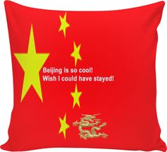 """Custom Couch Pillow: Your personal statement """"Wish I could have stayed!"""" proves: You've been to Beijing, you travel the world, you know what is cool!! Bed Duvet cover, shower curtain, Sweatshirt, Hoodie, Yoga Pants, Joggers, Leggings, Phone Case, Beach Towel, Tank Top, Crop Top, T-Shirt,  underwear, swim shorts, Bandana, Onesie, couch pillow, pillowcase, Classic T-Shirt, OMG, BFF, Christmas, birthday, Valentine's day, poster, Easter, Pin, Pinterest,"""