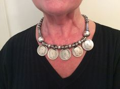 """A splendid old Indian necklace in silver with 5 old coins in silver at the effigy of King of british empire Edward Vll ( 1841-1910) and ornated with nice """"pumkin"""" shape and simple elements ... A piece of collection but also wearable every day by many women ... Weight : 137 gr Lenght : 54 cm/21,25 inches For sale now (1350€) in my shop at 28, Galerie du Roi at 1000 Brussels and soon """"online"""" www.halter- ethnic.com Under the item """"My Lucky Finds"""""""