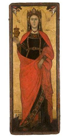 Attribué à Jacopo TORRITI (Actif à Rome de 1287 à 1292) Sainte Lucie XIIIe siècle Tempera sur bois 170 x 64 cm Don de Léon de Beylié en 1901 Domaine public © Musée de Grenoble