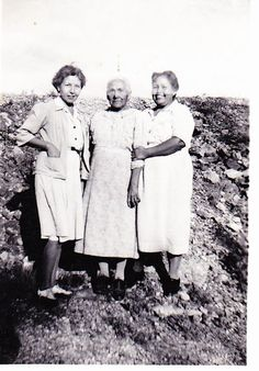L-R: Lula Walking Stick, Nannie Chooie Gritts and her daughter, Geniveve Gritts-Taylor - Cherokee - 1946