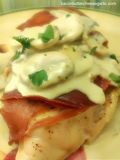 Chicken with Proscuitto and Mushrooms with Gorgonzola Cream Sauce