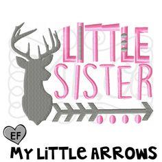 Deer little sister arrow 4x4 5x7 6x10 embroidery by MyLittleArrows